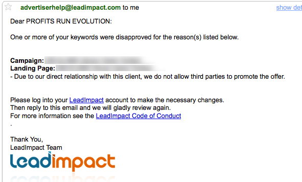 Lead Impact Ad Disapproved