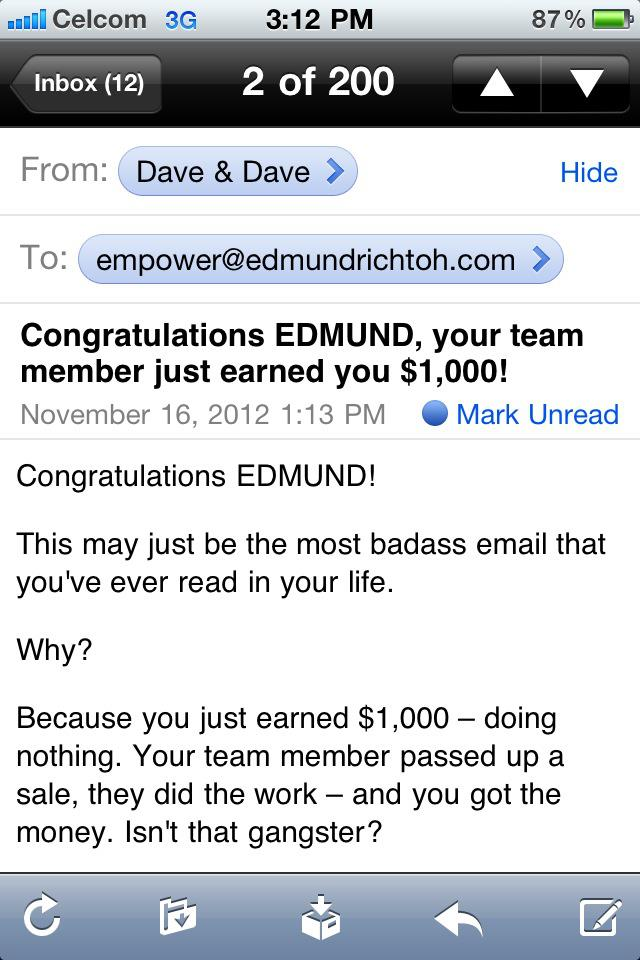 Empower Network Commission $1000 on 16th November 2012