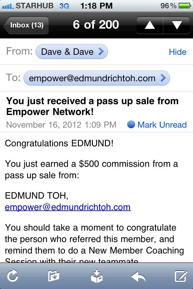 Empower Network Commission - $500 on 16th November 2012