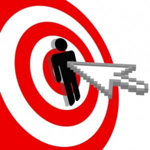 Internet arrow clicks stick figure bulls eye target