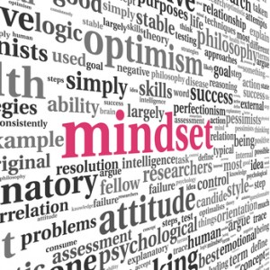 Mindset concept in word tag cloud