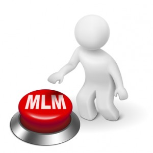 3d man with MLM ( Multi Level Marketing) button