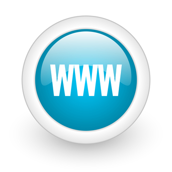 www blue circle glossy web icon on white background