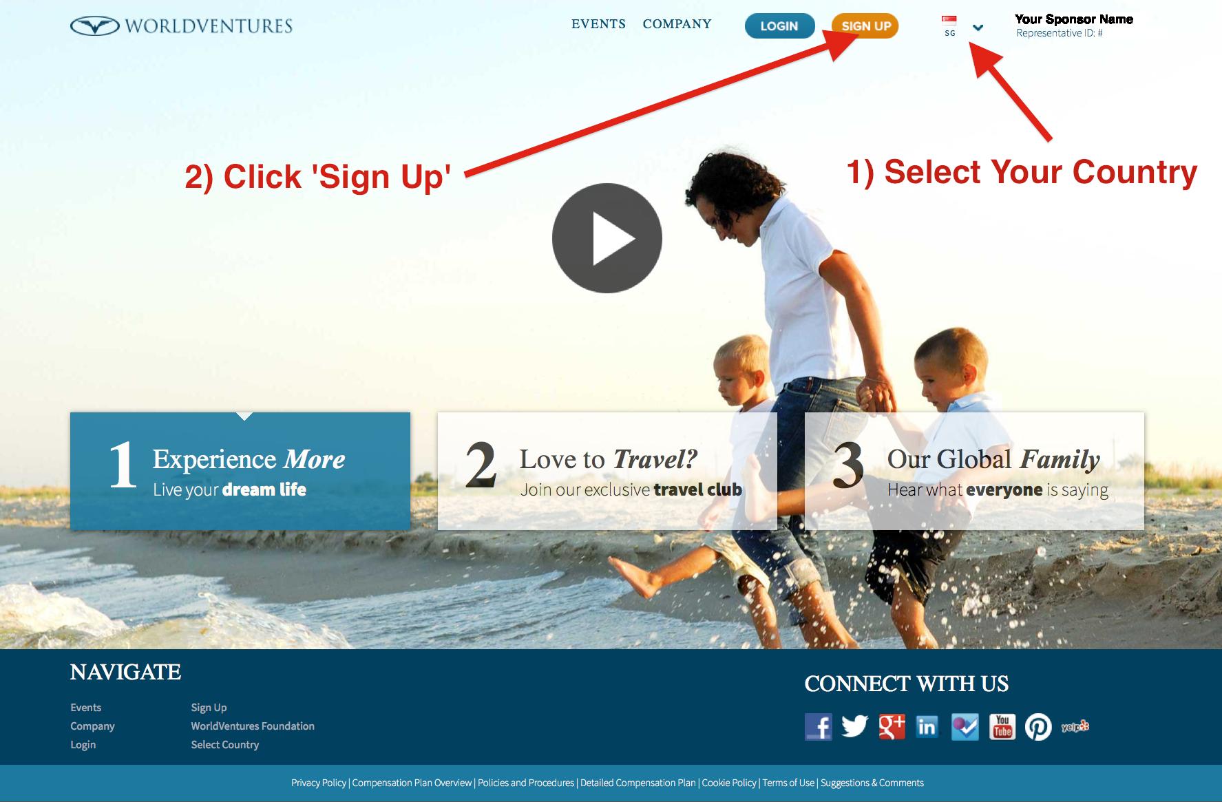 World Ventures - Sign Up Step 1