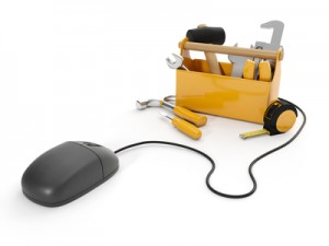 3d illustration: Online tools, technical support. Mouse and a gr